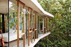 Wood mullions Planchonella House,© Sean Fennessy #windows