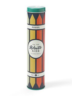 Fossil Colored Pencil Tin #packaging #tin #fossil #pencil