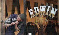 Edwin Europe - London Store #calligraphy #painted #craft #fashion #hand #typography