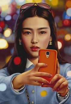 selfie oil on canvas