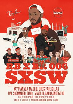 Mason | Boiler Room SxSW poster #boiler #ghostface #sxsw #illustraion #music #kaytranada #madlib #room