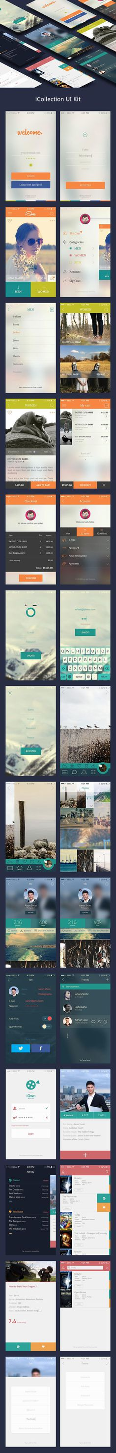 iCollection Mobile UI Kit PSD