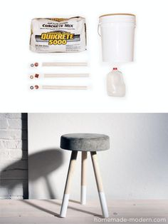 homemade-modern.com #DIY #concrete #stool