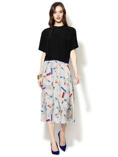 Geren Ford Colette Pleated Silk Skirt