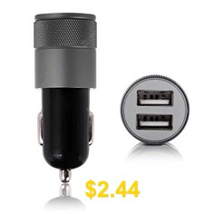 App #Car #Charger #Metal #App #Double #USB #Car #Charger #Aluminum #Double #Mouth #Cables #Charger #for #Car #- #BLACK