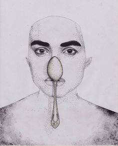 Ballpoint pen, colored pencils. #pupils #spoon #ba #ck #dots #face