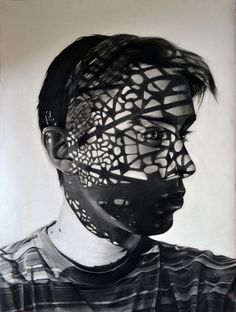 Charcoal Portraits with Shadows