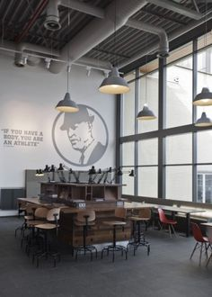 Nike Canteen | UXUS #nike #interiors #desk #chairs