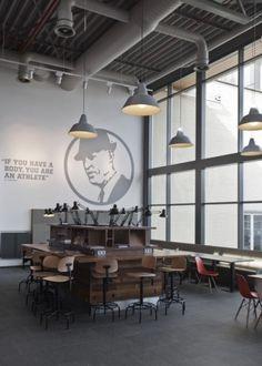 Nike Canteen | UXUS #nike #interiors #desk #chairs