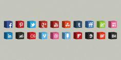 3D Cube Icons Set #social #icons #3d #cube