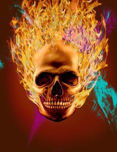 fire skull #skull #death #fire