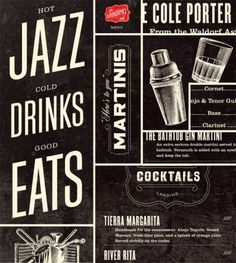 Drinks #martinis #seats #jazz #alcohol #shaker #gin #drinks #cocktails #typography