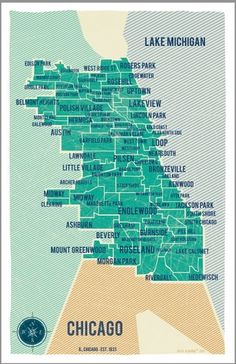 City of Chicago Map in Turquoise Vintage Style by VassiSlavova #map