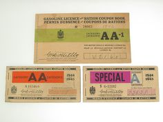 Canada Three WWII Gasoline LICENCE and Ration Coupon Books | eBay #ration #gas