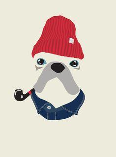 Fashion model at woofmodels #illustration #portrait #fashion #bulldog #dog