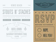 Stouts N' Staches Invite #simple #fun #graphic #clean