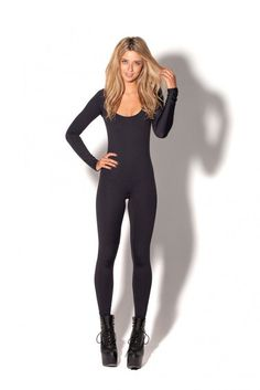 New Matte Black Long Sleeve Catsuit
