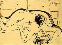 Ernst Ludwig Kirchner: Lovers (1903) #illustration #ink #lovers #art