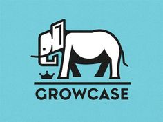 Dribbble - Growcase by Riley Cran #crown #growcase #elephant #logo #custom #type