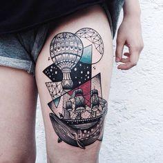 #tattoo #geometry #balloon #ship