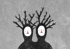 lidia lobato #symbiosis #illustration #couple #trees