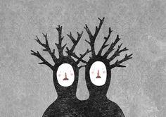 lidia lobato #symbiosis #illustration #couple #trees