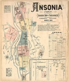 BibliOdyssey: Sanborn Fire Insurance Map Typography #design #map #typography #ansonia #connecticut #1884