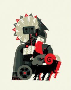 1318791749.jpg (500×636) #red #nordic #thor #black #goat #illustration #gray #skull