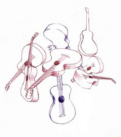 swing strings – illustration by Ryan Crane #guitar #illustration #ink #drawing