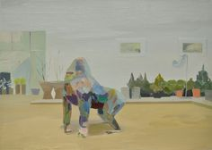 Gorilla Ornament, Arboretum, Co.Carlow.Painting by Mairead OhEocha.Found here (via). #painting