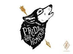 'Pride and Honour' design for F&L Co. #illustration #handdrawn #typography #wolf