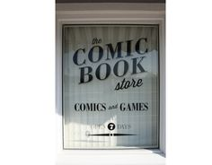 The Comic Book Store, storefront window vinyl #serif #black #comic #brand #vinyl #identity #window #logo
