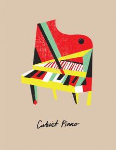 Picasso's Lost Instruments - bradwoodarddesign #music #illustration #cubist #piano
