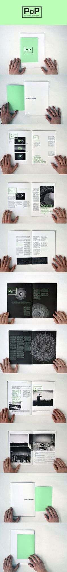 Portion of Physics | Magazine #science #higgsboson #magazine #spreads #book #layout #gridsystem #neon #photography #graphicdesign #booklet