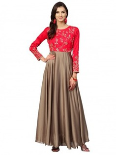 Red Thread Embroidered Dress - Inddus