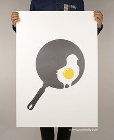 Superreally #vector #egg #design #graphic #or #poster #pan #chicken