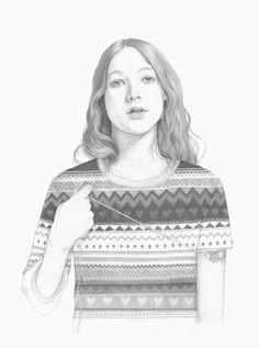 Unravel | Denise Nestor #drawing #girl #sweater
