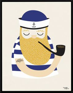 #nordic #design #graphic #illustration #danish #beard #simple #nordicliving #living #interior #kids #room #poster #sailor #maritime #stripes