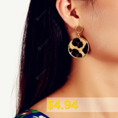 Fashion #Golden #Leopard #Round #Pendant #Earrings #- #LEOPARD