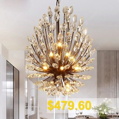 Lanshi #Country #Style #Crystal #Chandelier #Lamp #for #Living #Room #- #BLACK