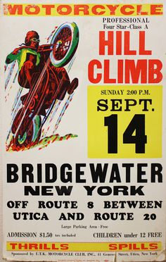 vintage motorcycle hill climb posters from New York