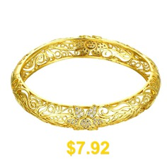 Fashion #K #Gold #Zircon #Carving #Pattern #Female #Gold #Bracelet #- #GOLD