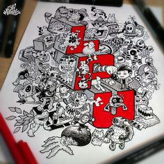 Creative Doodle Art Inspirations by Lei Melandres #doodle art # drawing art