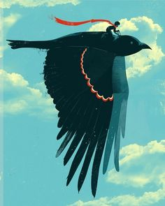 this isn't happiness™ (Jay Fleck), Peteski #illustration #bird #crow #flight #flying