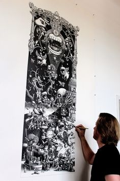 A Triptych - The Landing- 2012 - Panel 1 on the Behance Network #illustration #handmade #mural #blackwhite