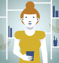 Self-portrait on Behance, Magda Azab #plants #yellow #illustration #portrait #vintage #tea #studio #art #blue