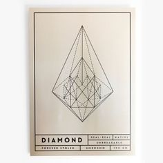 """Diamond"" - From our new aluminium originals series,Fake Gold / Wrong edition. Printed on metal canvas using a deep print technique. Made # #inspiration #nordicdesign #frame #smedsmo #perspective #print #diamond #design #black #artwork #grid #illustration #poster #gold #art #metal #fakegold #aluminium #shiny #typography"
