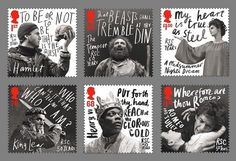 50 Year Anniversary stamps for the Royal Shakespeare Company by Hat-trick #stamps #shakespeare #type #mail #typography