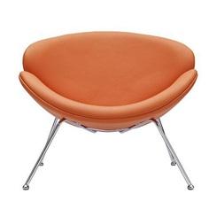 Orange Vinyl Accent Chair with Splayed Chrome Legs