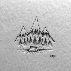 illustration, mountain, tent, logo